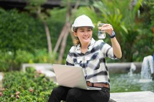 Water technician engineer monitoring quality on-site-1